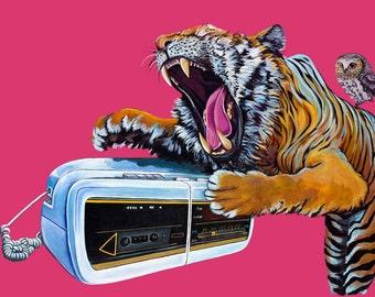 Digital Print from original Artwork 11.5 x 16.5 of large White and Orange Tiger with owl and vintage clock radio phone on dark pink