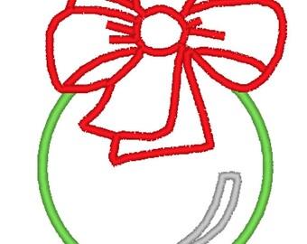 Christmas Ornament with Bow Applique Design 006