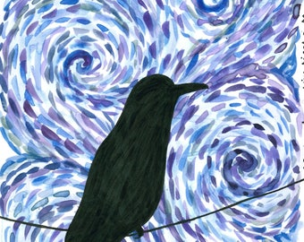 Starry Blackbirds 5x7 art print