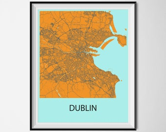Dublin Map Poster Print - Orange and Blue