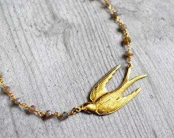THE SWALLOW gemstone necklace with labradorite (VIK-25)
