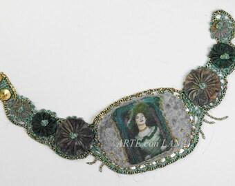 Freeform crochet belt,fabric image,romantic,folkloric, Boho and costumes,crochet,corsage,bodice,felting,exclusive belt