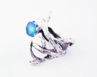 blue twig ring silver branch ring silver tree ring blue wood ring tree branch jewelry nature inspired statement artisan jewelry