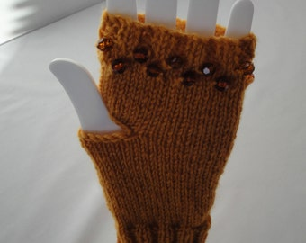 beaded gold mitts, wool knit mittens, fingerless gloves, amber texting mitts, mustard hand-warmers, knitted wrist-warmers, holiday gift