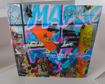 Broken graffiti -  an urbex blank greetings card for all occasions - Urban fragments - Green Card Design - Urban exploration