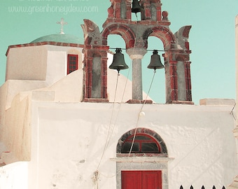 Church Bells Red Door - Santorini - Wall Decor - Greek Mediterranean Fine Art Print Greece Photography