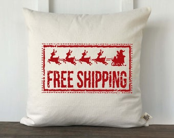Farmhouse Christmas Pillow Cover, Santa Christmas Pillow, Decorative Pillow, Custom Couch Pillow, Vintage Graphic,  Free Shipping Pillow RED