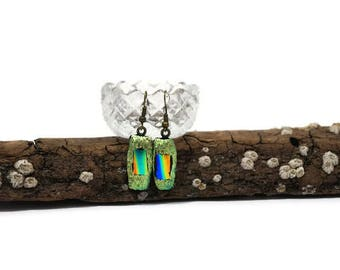 Sparkle Fused Glass Earrings, Green and blue Rectangle Earrings,  Dichoric Glass Earrings, Drop Earrings, Dangle Earrings, Wire Backs, Boho
