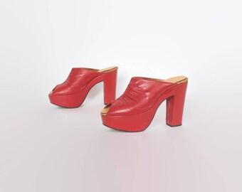 Vintage 70s Red Platforms / 1970s Peep Toe Red Leather Slide Heels Platform Clogs 6 1/2 37