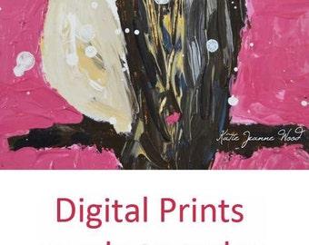 Dark Pink Chickadee Bird Painting Print. Cottage Chic Decor. Home Wall Art Digital Print No 130