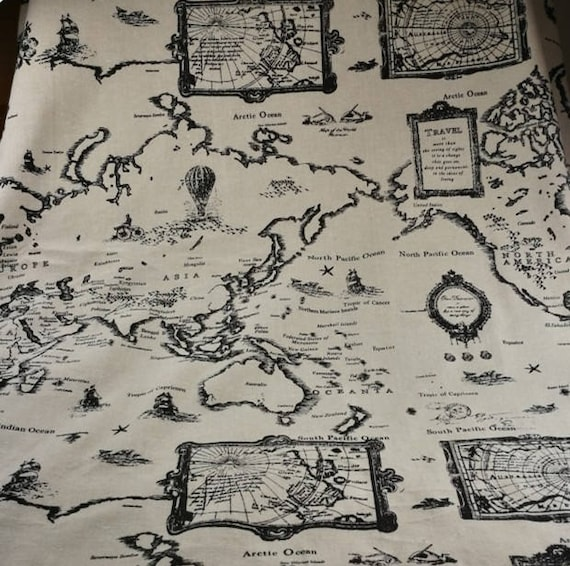 World map linen fabric world map curtain panel cotton linen world map linen fabric world map curtain panel cotton linen material curtains upholstery craft cream black 150cm wide sold by metre from shop4cotton gumiabroncs Gallery