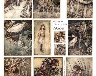 ALICE in WONDERLAND digital collage sheet, DOWNLOAD vintage images, Rackham illustrations storybook fantasy fairy tales art, children's book