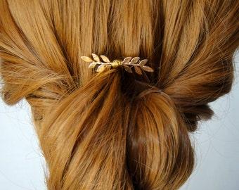Gold Small Wedding Hair Pin, Gold Wedding Hair Accessories, Gold Leaf Bridal Hair Pin, Gold Brass Leaf, Autumn, Woodland, ELISE