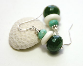 Green Jade earrings, African opal, Semiprecious, Gift for her, Green gemstone, Sterling silver, Jewelry