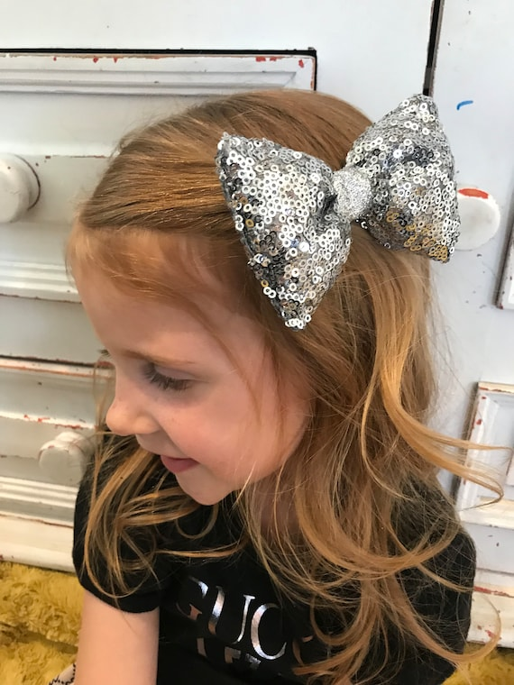 Silver bow , Silver hairbow , sparkle bow