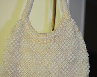 Beaded White Purse, Vintage Women's Fashion
