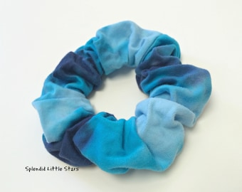 Cotton Scrunchie, hand dyed, tie dye scrunchie, ponytail, turquoise, light blue, royal blue, soft for hair