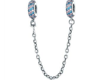 Pave Inspiration Safety Chain Charm Pink & Blue CZ Beads Charms 100% 925 Sterling Silver fit for Authentic pandora and european bracelets