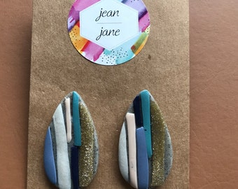 Multicoloured polymer clay earrings