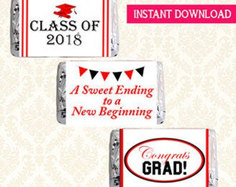 Mini Candy Bar Wrappers, Class of 2018 Graduation, Printable Hershey Chocolate Bar Label Wraps, A Sweet Ending To A New Beginning,DIY 9503