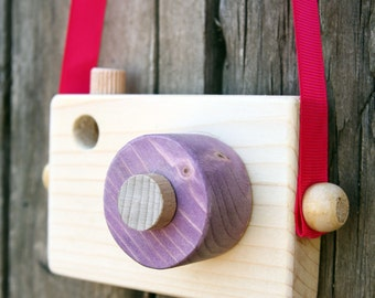 Kids camera -Toddler gift- Purple Wooden Camera - Pretend play - Waldorf toy - Gift for girls   - Handmade - Toy camera - Toddler gift