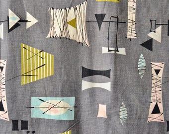 Vintage 50s Barkcloth // 1950s Gray Atomic 'Eames Era' Barkcloth Fabric // 2 Panels
