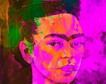 Frida Kahlo Purple Pop Art PUR/Painting/Canvas/MetalPrint/Arcylglass/ModernArt/ContemporaryArt/Expressionism/StreetArt/Mexican/Female/Prints