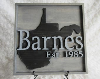 Custom Wood Personalized Family Name West Virginia WV Wall Sign Plaque Decor
