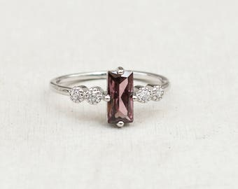 Large Baguette Statement Ring- SILVER with RHODOLITE Cubic Zirconia - fashion ring, temporary engagement ring, stacking ring