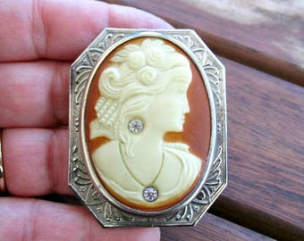 Antique 1920s Art Deco Cameo Brooch - Celluloid - Art Deco Jewelry - Antique - Habille - Silver Tone - Rhinestones