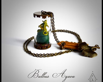 Glass - botanical Agava mini-terrarium necklace jewelry-