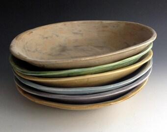 READY TO SHIP! Pasta Bowls in Six Earth Tones, Farm house style pasta bowls, Handmade stoneware pottery by Leslie Freeman
