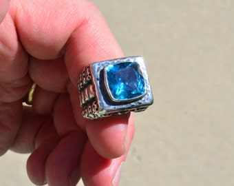 Huge Dian Malouf Sterling Silver Blue Topaz Statement Ring Size 6 1/2