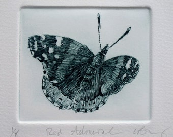 Red Admiral Butterfly print. Fine art drypoint