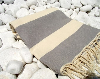 Best Quality Hand Woven Turkish Cotton Bath Towel or Sarong-Natural Cream and Grey