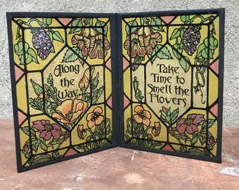 Vintage Yorkraft Inc Folding Suncatcher Panel Stop And Smell The Roses