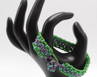 Green Purple Turquoise Bracelet Beadwoven Handmade