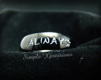 Black Hand Stamped Ring with Names - Polished Finish