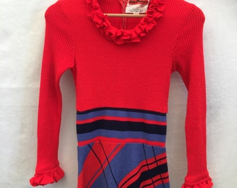 Amazing Size UK 10 1970s Wool maxi dress