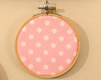 """Girl nursery, pink and white fabric in 4"""" embroidery hoop"""