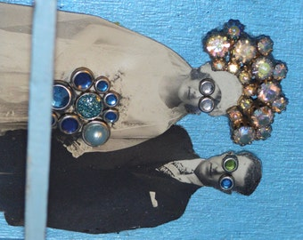 Wedding Day Goggles. Wall Decor. Assemblage Art. Blue.
