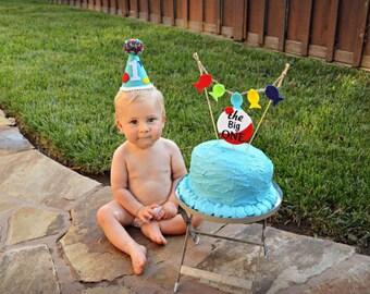 Fishing theme 1st birthday hat - first birthday party hat - boys birthday hat - boys hat and banner - mini birthday hat - gone fishing