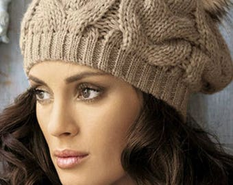 Knitting to order women's hat pompom hat pattern cable hat brown knit hat with braids hat gift