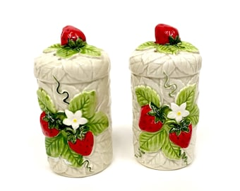 1976 Sears Roebuck Ceramic Earthenware Strawberry Salt Pepper Shakers With Stoppers Japan