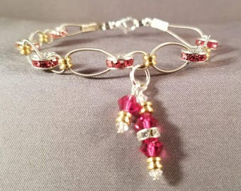 "Woven Guitar String Bracelet with Swarovski spacers ""Pink Crystals"""