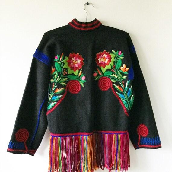 Vintage Embroidered Wool Bolero , Embroidered Ethnic Jacket , Friend Cropped Jacket