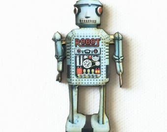 Gray Toy Robot Pin, Wooden Robot Pin, Robot Badge, Cool Robot Pin, Grey Robot Brooch, Fantasy, Sci-Fi, Industrial, Vintage, Geek
