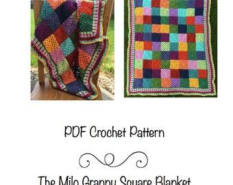 PDF Pattern- Milo Granny Square Blanket, crochet granny square blanket, granny square baby blanket, crochet baby blanket, receiving blanket