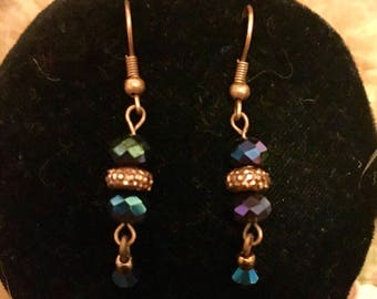 Copper with blue iridescent  crystals dangle earring