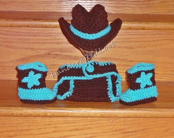 Newborn Crochet Baby Cowboy Hat Boot Diaper Cover Set Photo Prop Shower Gift Outfit 0-3,3-6 Months